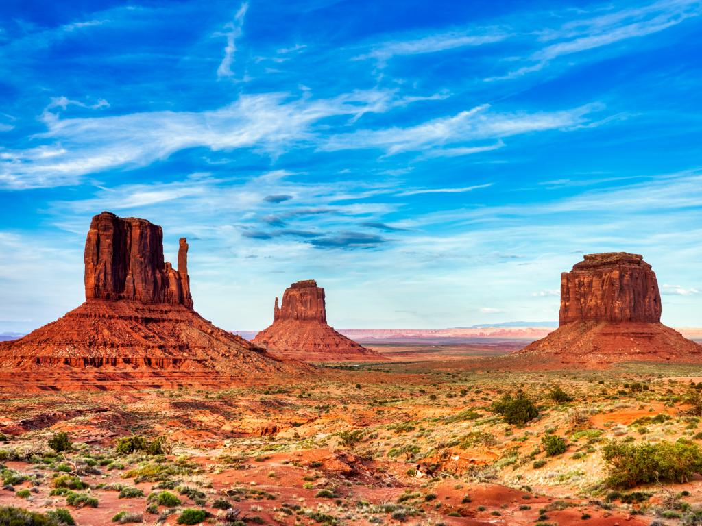 The unique red rocks of Monument Valley on the border between Utah and Arizona