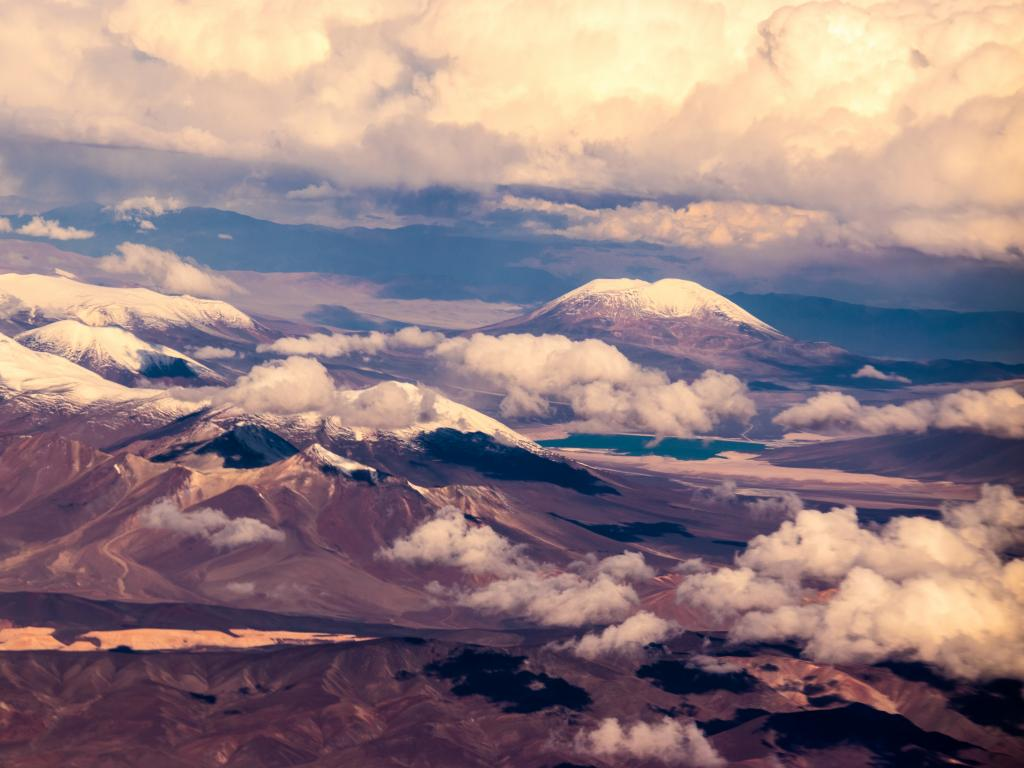 The Ojos del Salado volcano in the distance in the Atacama mountains between Chile and Argentina