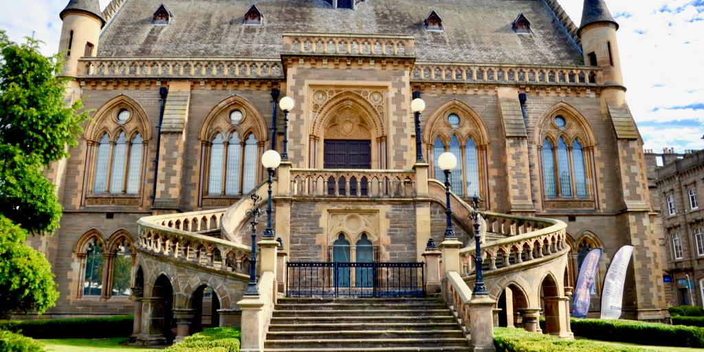 The grand steps leading up to the McManus Galleries in Dundee, Scotland