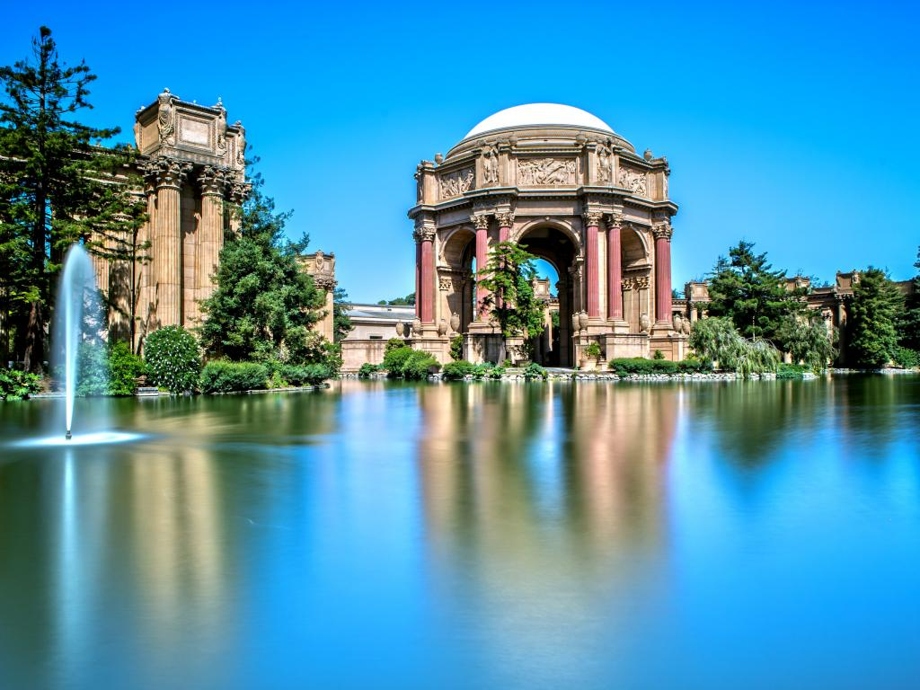View of the Palace of Fine Arts across the water in San Francisco