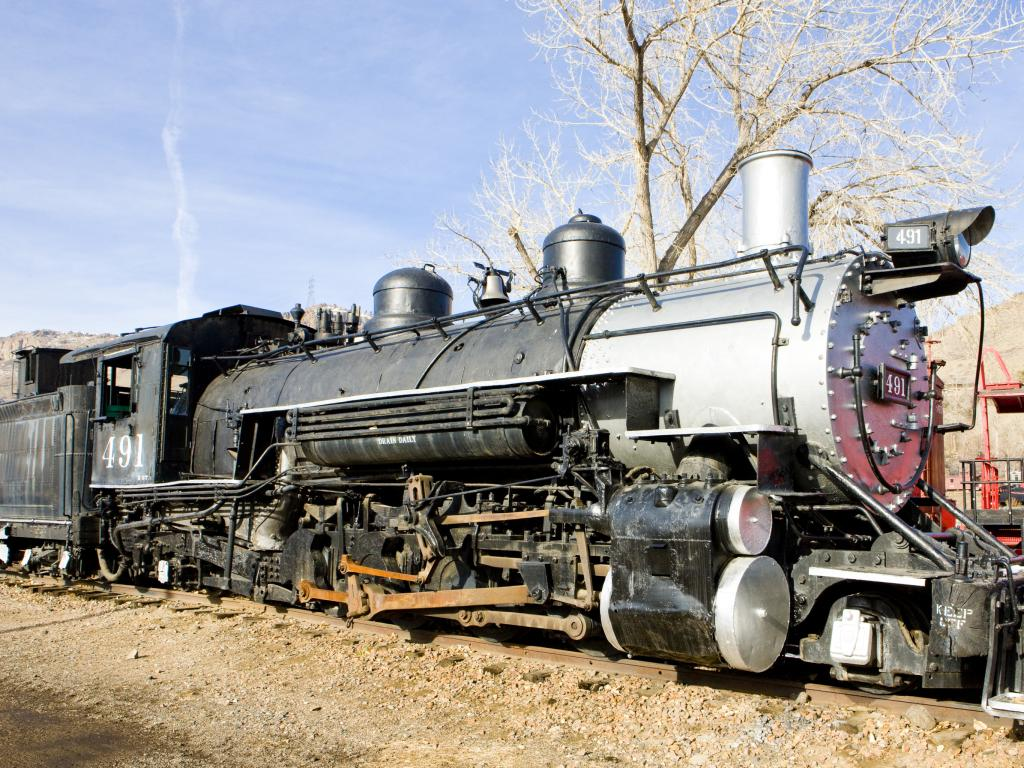 Classic steam locomotive in Colorado Railroad Museum in Denver