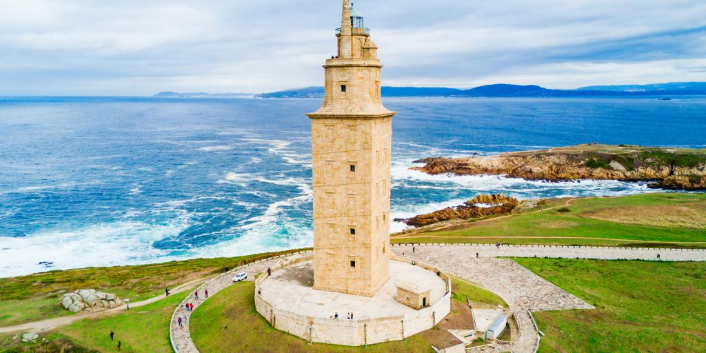 The ancient Roman Tower of Hercules perches on a hill in La Coruna, Spain
