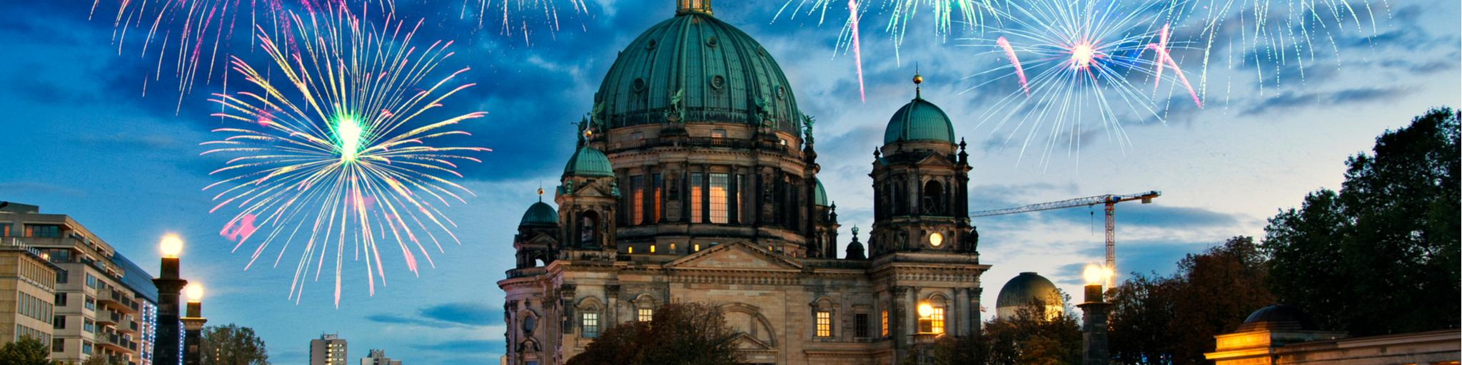 Fireworks over Berliner Dom cathedral in Berlin, Germany