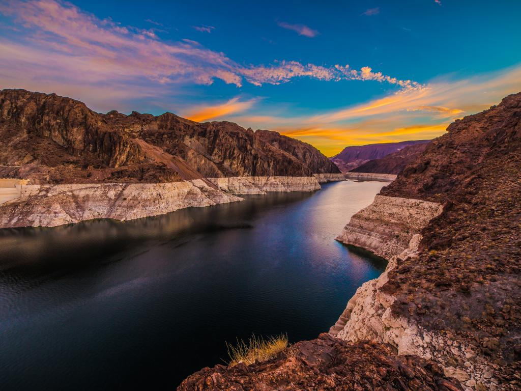 Lake Mead behind Hoover Dam at sunrise.