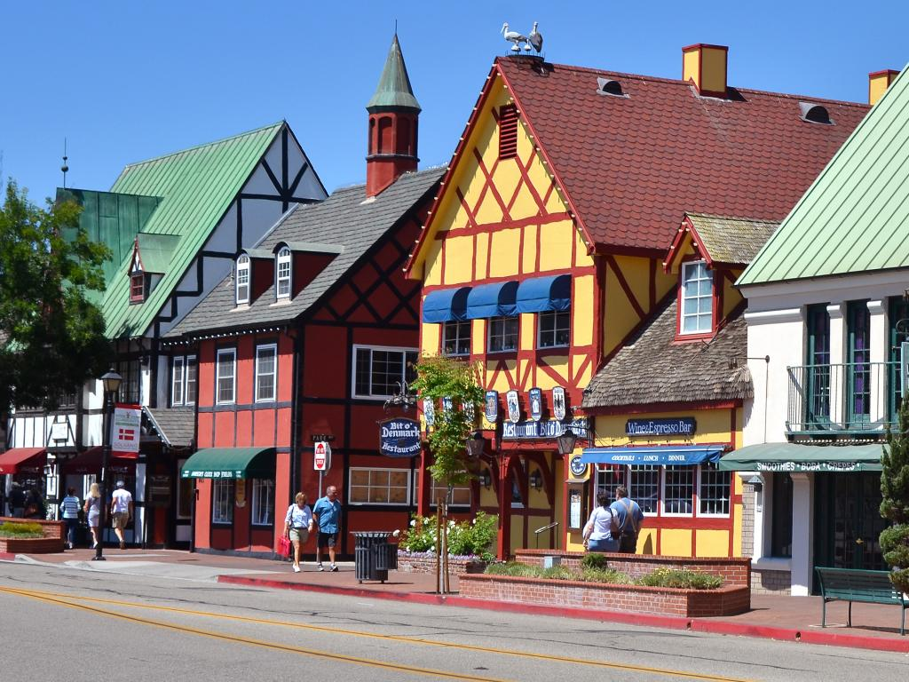 Colorful houses in the Danish village of Solvang in southern California.