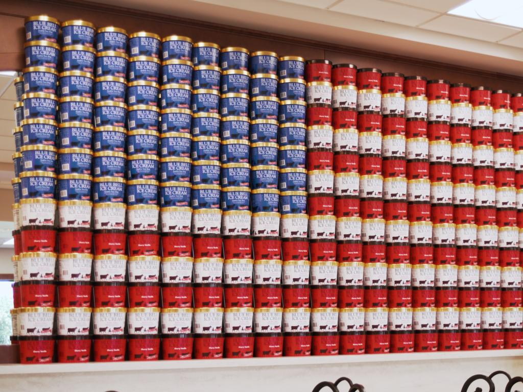 Blue Bell Creameries factory recreation of the American flag using ice cream tubs in Brenham, Texas.