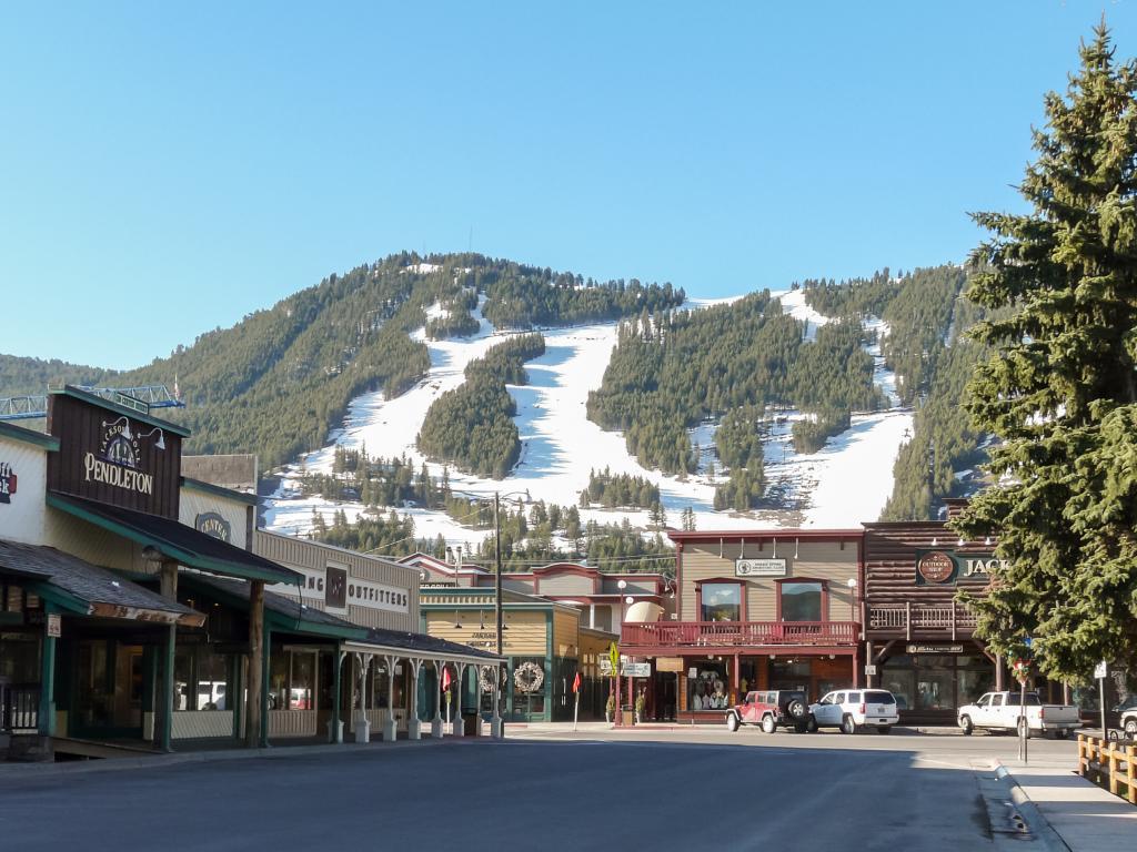 Ski slopes above the classic street of Jackson Hole, Wyoming.