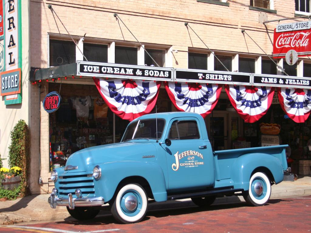 The blue 1951 Chevy pickup parked outside the Jefferson General Store in Jefferson, Texas