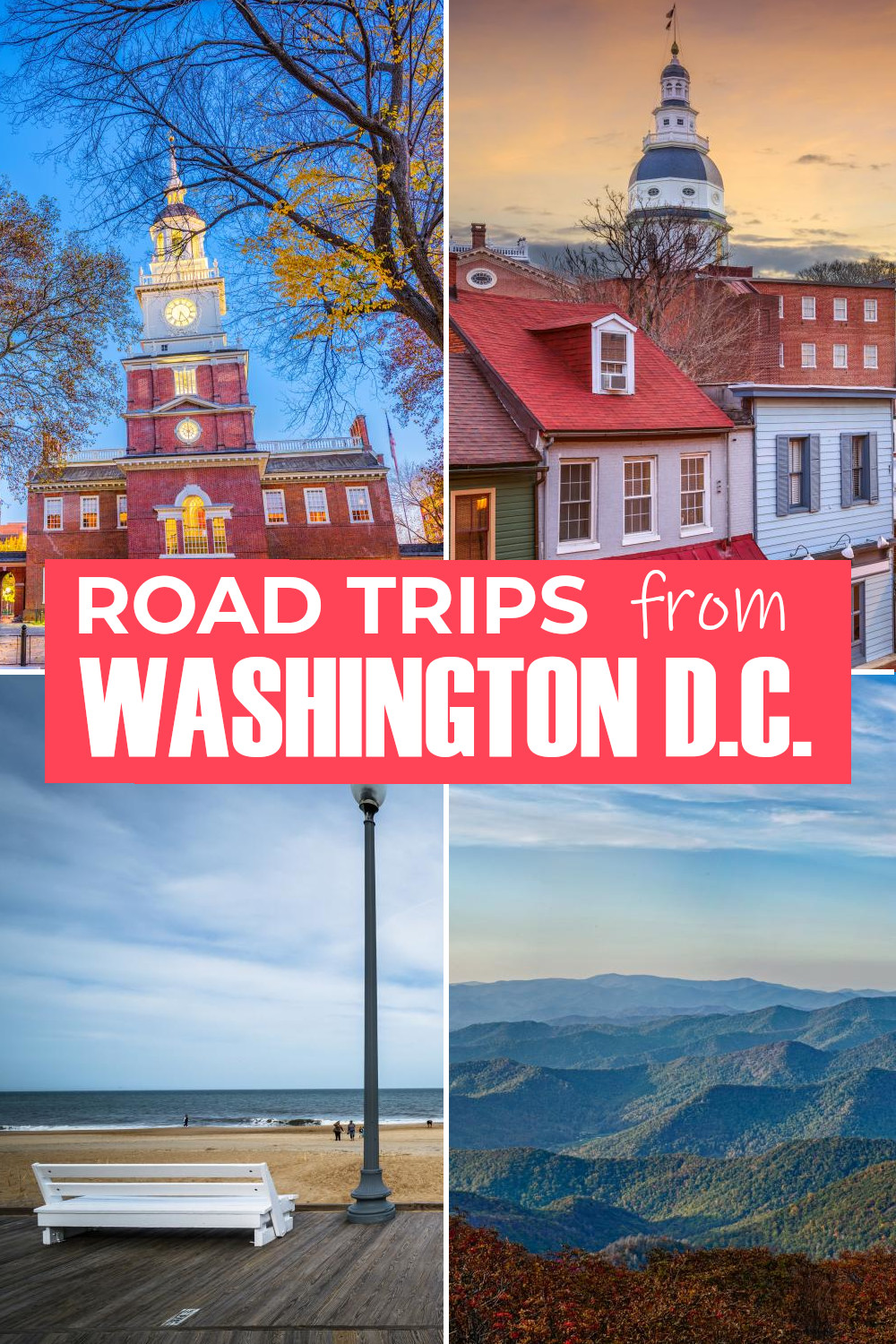 Road trips from Washington D.C. - from short drives to small towns and beaches to long trips up and down the East Coast, culture, history and scenic roads.