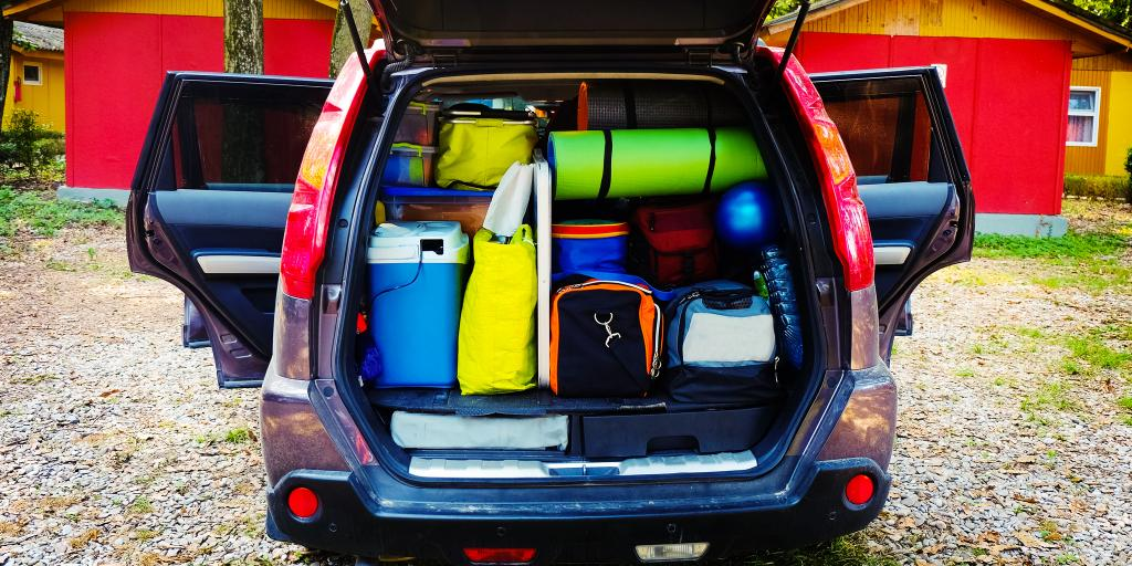 A car packed with things ready for a road trip