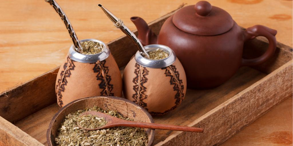 Yerba Mate served the traditional way with a metal bombilla in Argentina