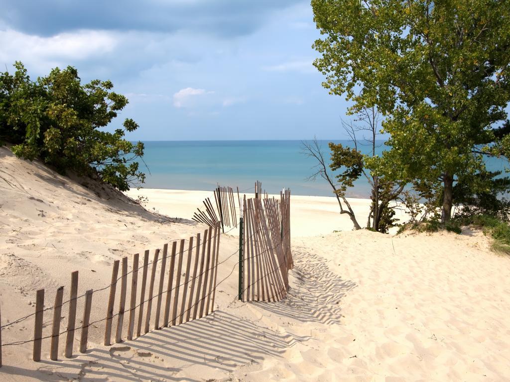 Indiana sand dunes on the shoreline of Lake Michigan