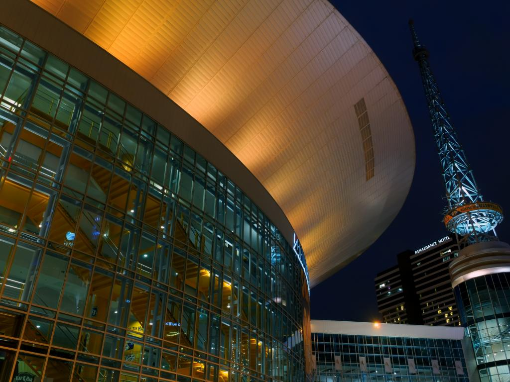 Bridgestone Arena at night - a concert venue in Nashville, Tennessee