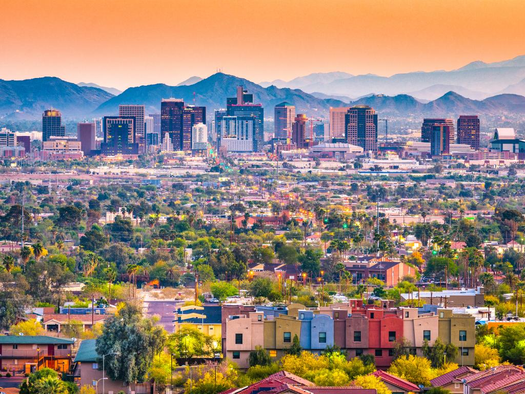Skyline of downtown Phoenix, Arizona with mountains in the background