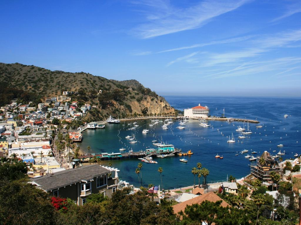 View of the harbor and town of Avalon, Santa Catalina Island, California