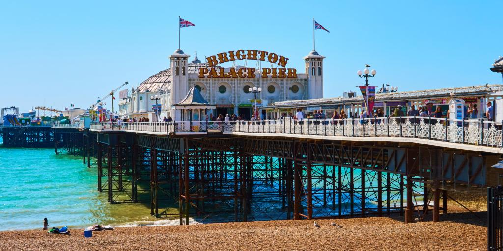 The entrance to Brighton Palace Pier on a sunny day