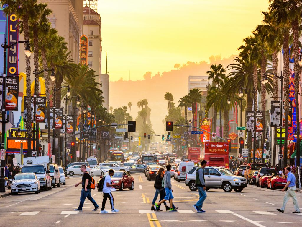 People and cars on Hollywood Boulevard's Theater District in Los Angeles, California