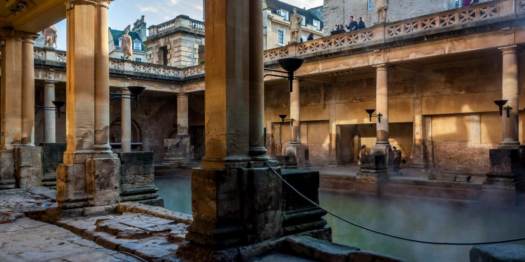 Steam rising off the water at the Roman Baths, Bath