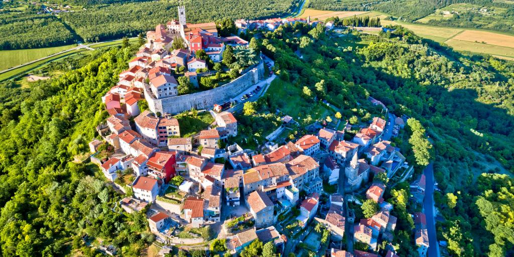 Aerial view of the idyllic hill town of Motovun, Istria region of Croatia - Image
